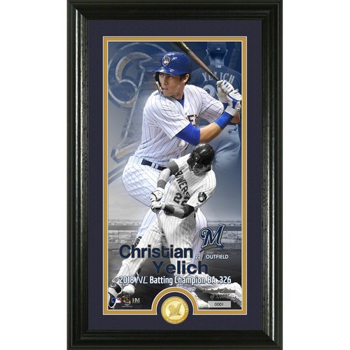 Photo of Christian Yelich 2018 N.L. Batting Title Supreme Bronze Coin Photo Mint