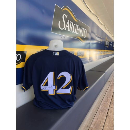 Photo of Lorenzo Cain Game Used, Autographed Jackie Robinson Day Jersey; 1-4, 2 R