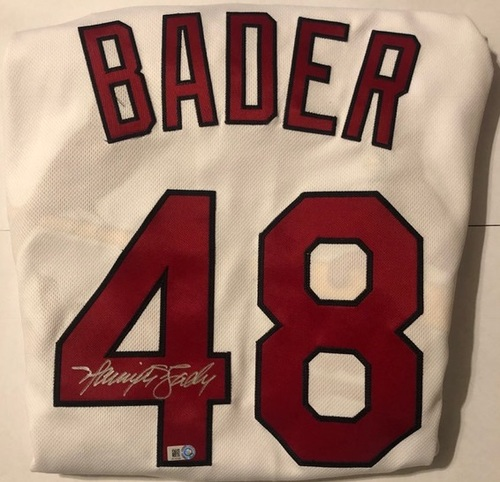 Photo of Harrison Bader Autographed Cardinals White Authentic Jersey