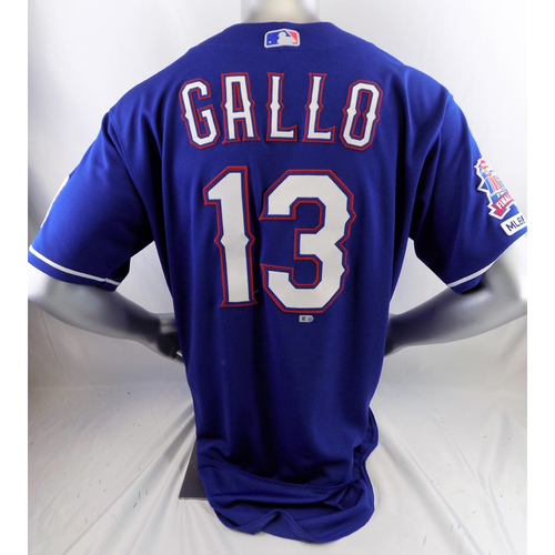 Photo of Game-Used Blue Homerun Jersey - Joey Gallo - 7/12/19