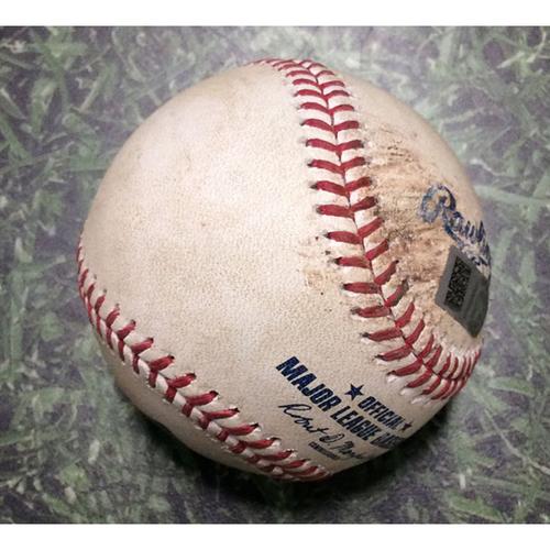 Photo of Game-Used Baseball CLE@MIL 05/08/18 - Brent Suter - Edwin Encarnacion: Single