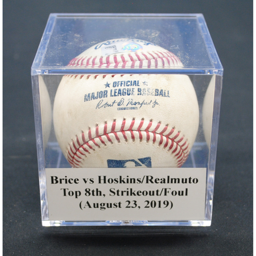 Photo of Game-Used Baseball: Austin Brice vs Rhys Hoskins/JT Realmuto, Top 8th, Strikeout/Foul - August 23, 2019