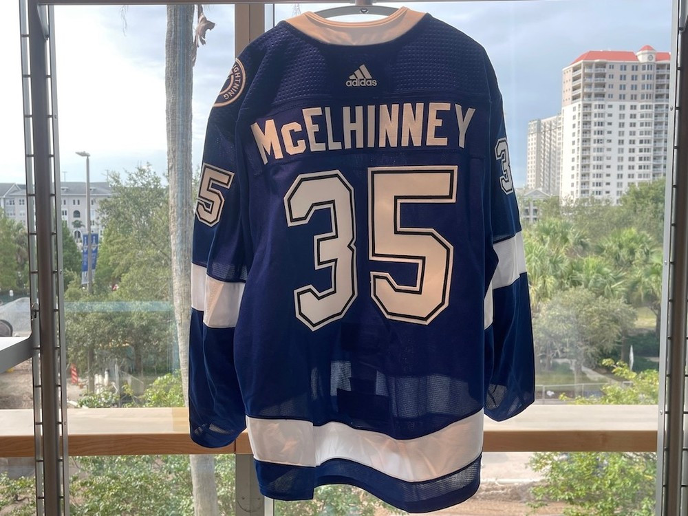 #35  Curtis McElhinney Tampa Bay Lightning 2021 Stanley Cup Final Game-Issued Jersey