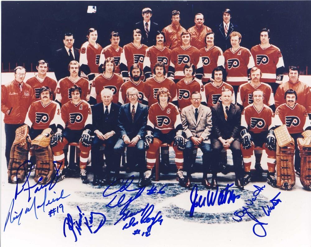 1973-74 Philadelphia Flyers Stanley Cup Champions 8x10 Photo *8 Autographs* *Bernie Parent, Rick Macleish, etc *
