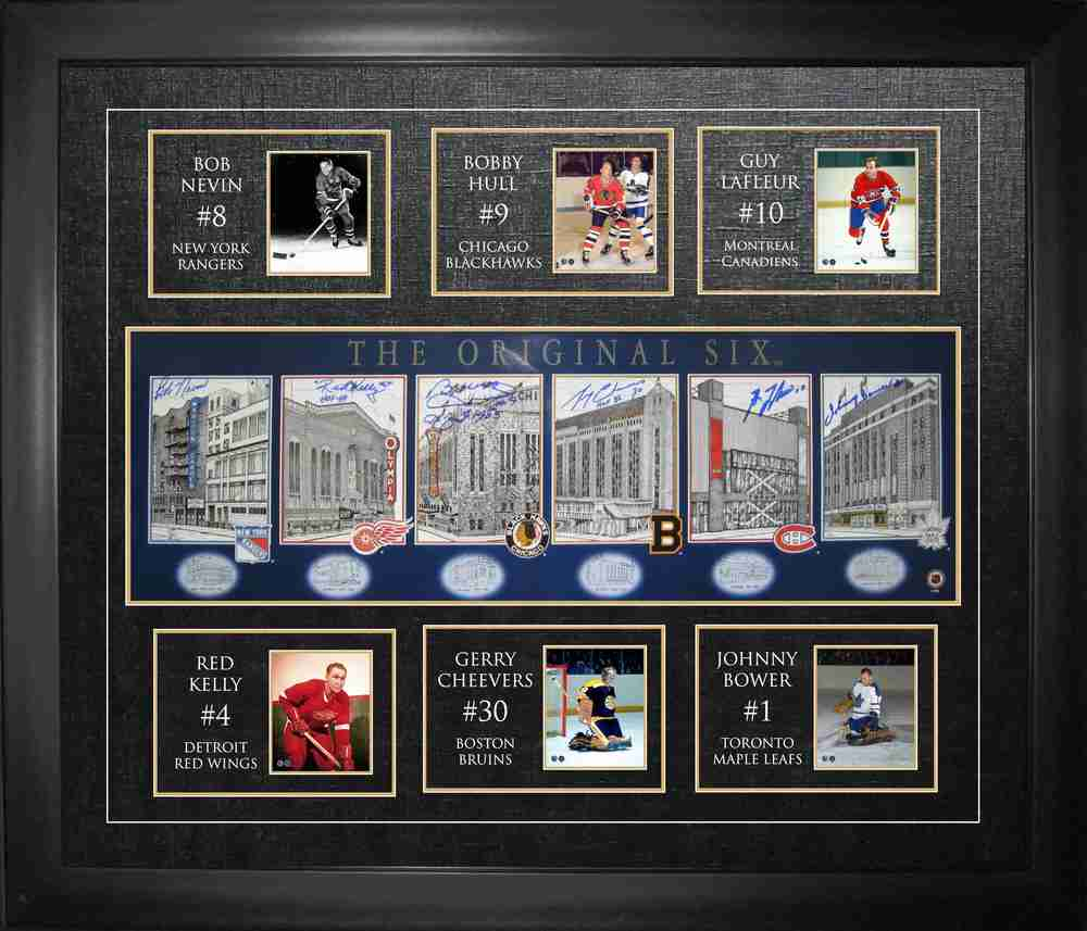 Bower, Cheevers, Kelly, Lafleur, Hull, & Nevin - Signed & Framed Orig.6 Arenas Print