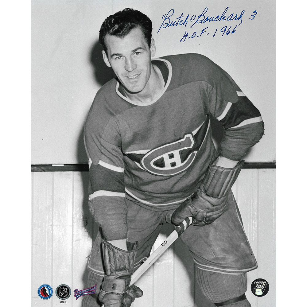 Butch Bouchard (deceased) Autographed Montreal Canadiens 8X10 Photo w/HOF 66 Inscription