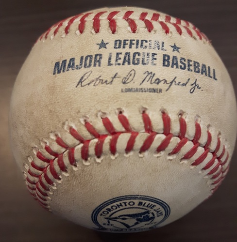 Photo of Authenticated Game Used Baseball - April 14, 2016: Alex Rodriguez Hit by Pitch against Marcus Stroman (Top 4)