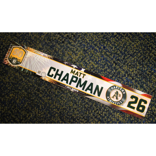 Photo of Oakland Athletics Matt Chapman Team-Issued 4th of July 2018 Locker Nameplate