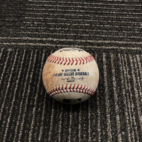 Photo of 2017 San Francisco Giants - Game-Used Baseball - Johnny Cueto Strikes Out Eugenio Suarez on a Foul Tip - 5/12/17