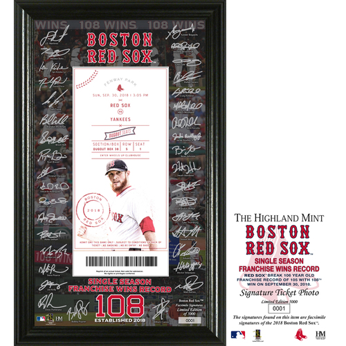 "Photo of Boston Red Sox ""Single Season Franchise Wins Record"" Signature Ticket 12x20 Frame"