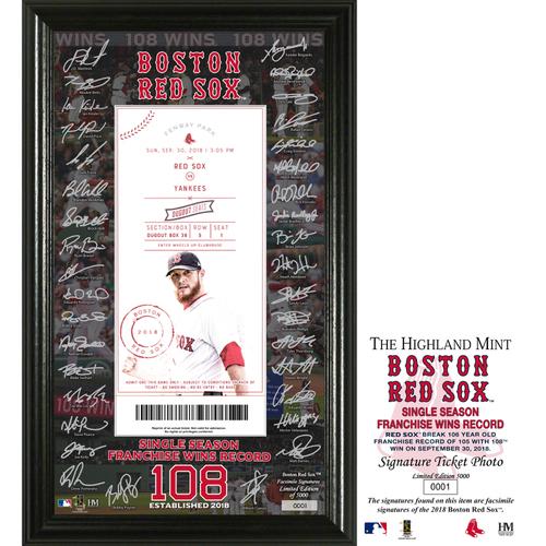 "Photo of Boston Red Sox ""Single Season Franchise Wins Record"" Signature Ticket 12x20 Frame"