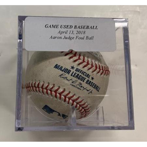 Photo of Game-Used Baseball: Aaron Judge Foul Ball