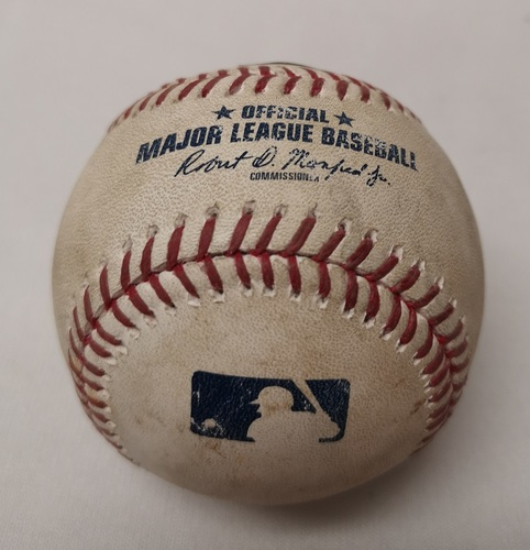 Photo of Authenticated Game Used Baseball - Brian Dozier Single against Dominic Leone (August 25, 2017 vs MIN). Top 7.
