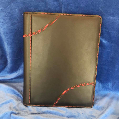Photo of UMPS CARE AUCTION: Rawlings Black Leather Baseball Stitch Pad Folio/Tablet Case