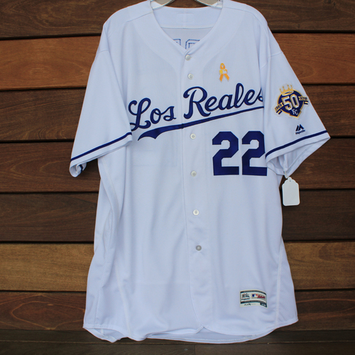 Photo of Game-Used Los Reales Jersey: Cal Eldred (Size 52 - BAL @ KC - 9/1/18)