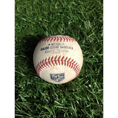 Photo of 20th Anniversary Game Used Autographed Baseball: Willy Adames (ROOKIE SEASON) double off Frankie Montas - September 16, 2018 v OAK