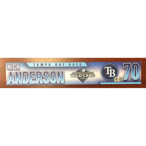 Photo of Game Used A.L. Wild Card Locker Tag: Nick Anderson - First Career Post Season Game