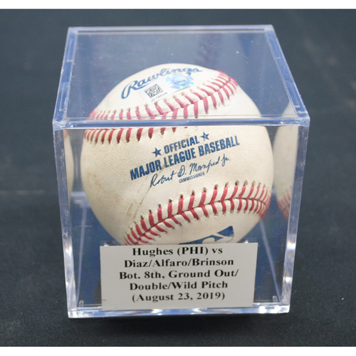Photo of Game-Used Baseball: Jared Hughes (PHI) vs Isan Diaz/Jorge Alfaro/Lewis Brinson, Bot. 8th, Ground Out/Double/Wild Pitch - August 23, 2019