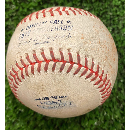 Photo of 2018 NLDS Game Used Baseball - Rich Hill pitched to Ronald Acuna, Jr. Foul - 10/8/18