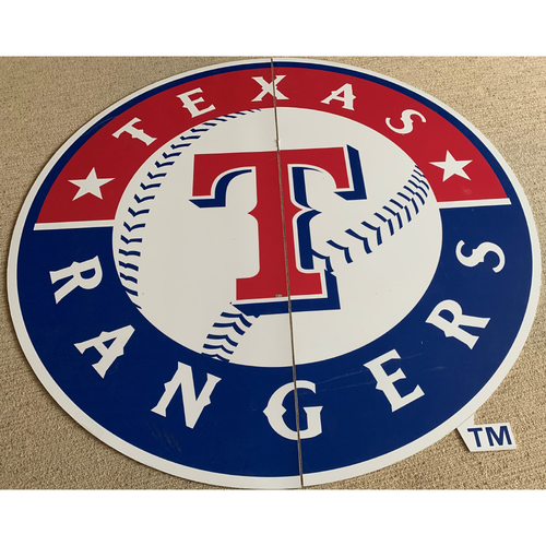 Photo of PICK UP ONLY - Texas Rangers Primary Logo Sign Displayed at Entrance of Clubhouse Tunnel Leading to Playing Field of Globe Life Park In Arlington