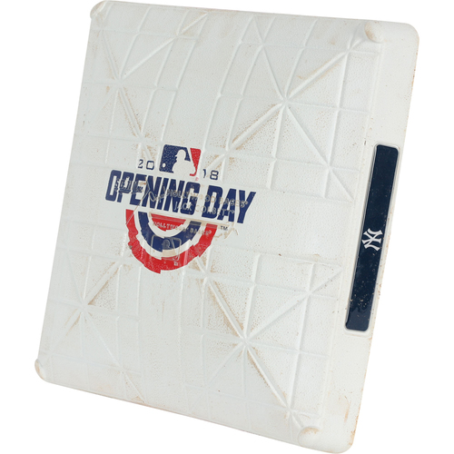 Photo of New York Yankees Game-Used 3rd Base (used in 1st Inning) from Opening Day vs. Tampa Bay Rays on April 3, 2018