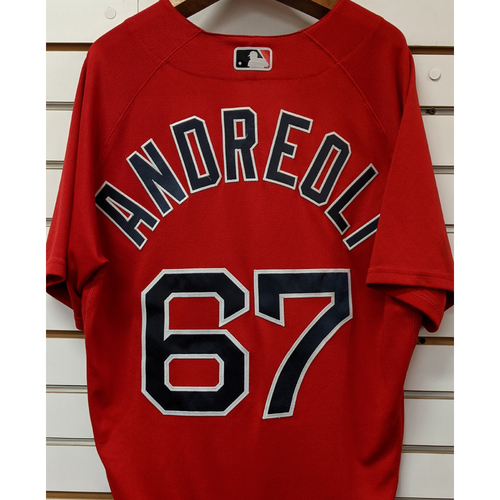 Photo of John Andreoli #67 Team Issued Nike Red Spring Training Jersey.