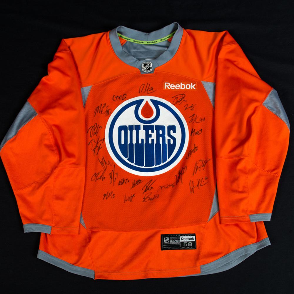 2017-18 Edmonton Oilers Team Signed Orange Reebok Used Practice Jersey d863c6d448a
