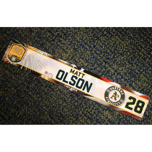 Photo of Oakland Athletics Matt Olson Team-Issued 4th of July 2018 Locker Nameplate
