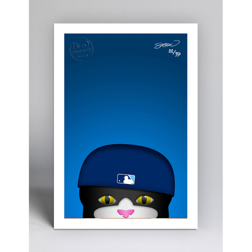 Photo of DJ Kitty - Limited Edition Minimalist Mascot Art Print by S. Preston  - Tampa Bay Rays