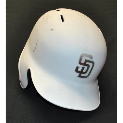 """Photo of Greg """"GG"""" Garcia San Diego Padres Game-Used 2019 Players' Weekend Helmet"""