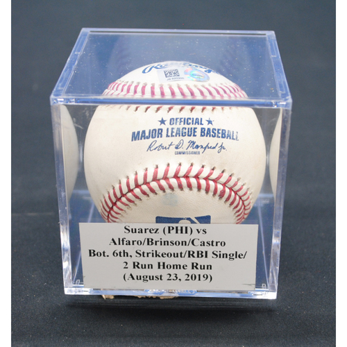 Photo of Game-Used Baseball: Ranger Suarez (PHI) vs Lewis Brinson/Starlin Castro, Bot. 6th, RBI Single/2 Run Home Run - August 23, 2019