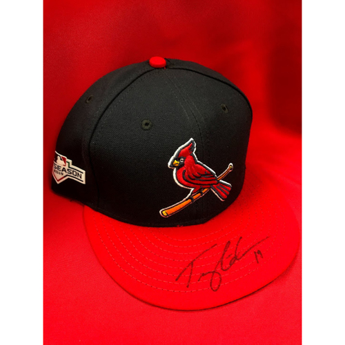 Photo of Tommy Edman Autographed Team Issued 2019 Postseason Home Alternate Hat (Size 7 3/8)