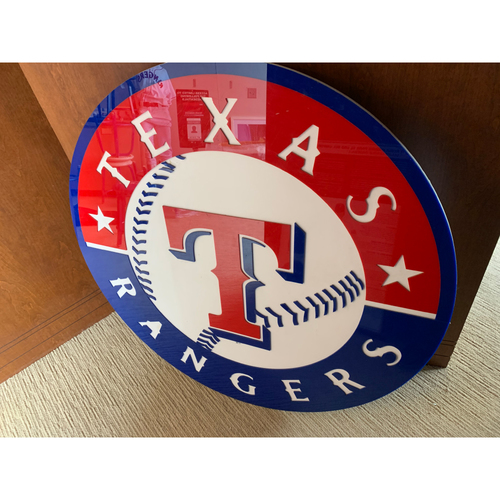 Photo of PICK UP ONLY - Texas Rangers Acrylic Debossed Primary Logo Sign displayed in Lobby of Clubhouse Level Media Elevator at Globe Life Park in Arlington