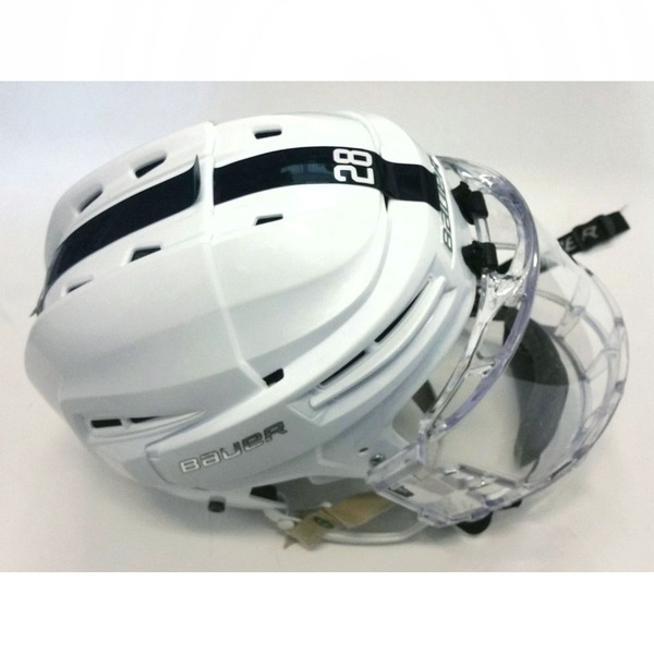 Photo of Penn State Game-Used Men's Ice Hockey Helmet (White, #28)