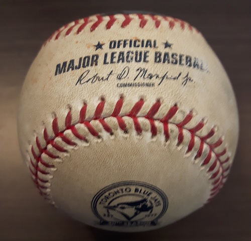 Photo of Authenticated Game Used Baseball - May 2, 2016: Single by Rougned Odor against R.A. Dickey (Top 3)