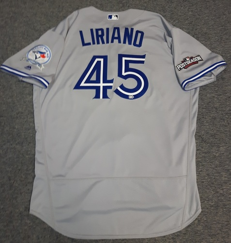 Photo of Authenticated Team Issued Jersey - #45 Francisco Liriano (2016 Postseason). Size 52