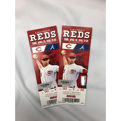 Photo of Ronald Acuna Jr. -- Pair of GABP Tickets -- Acuna First Career HR Game -- Braves vs. Reds on April 26, 2018