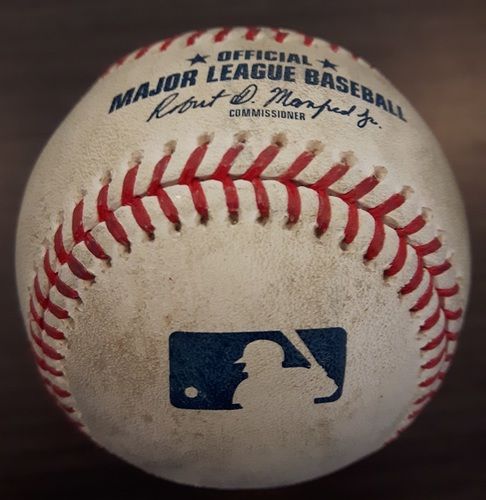 Photo of Authenticated Game Used Baseball - John Axford strikes out Jurickson Profar (April 28, 2018 vs Texas). Top 8.