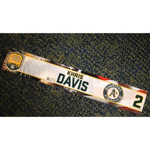 Photo of Oakland Athletics Khris Davis Team-Issued 4th of July 2018 Locker Nameplate