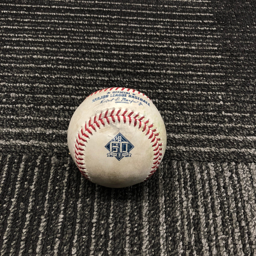 Photo of 2018 San Francisco Giants - Game-Used Baseball - 60th Anniversary - Nick Hundley Singles off Phil Maton - 6/23/18