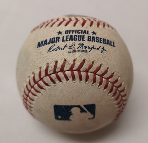 Photo of Authenticated Game Used Baseball - Kendrys Morales Double against Kevin Gausman (September 13, 2017 vs BAL). Bottom 6.