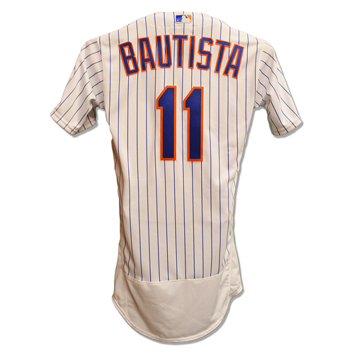 Photo of Jose Bautista #11 - Team Issued White Pinstripe Jersey - 2018 Season