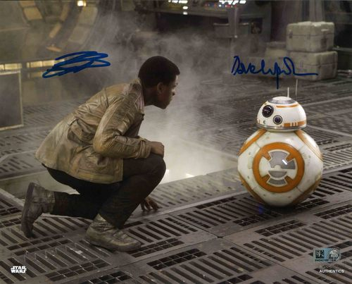 John Boyega and David Chapman as Finn and BB-8 8x10 Autographed in Black Ink Photo