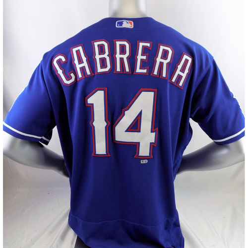 Photo of Game-Used Blue Homerun Jersey - Asdrubal Cabrera - 4/16/19