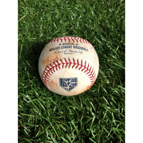 Photo of 20th Anniversary Game Used Baseball: Kevin Kiermaier triple off Carlos Carrasco - September 12, 2018 v CLE