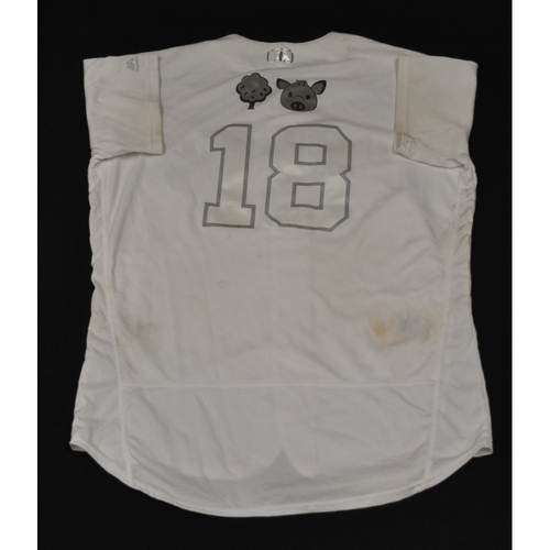 "Photo of Austin ""Tree, Hog Emojis"" Hedges San Diego Padres Game-Used 2019 Players' Weekend Jersey"