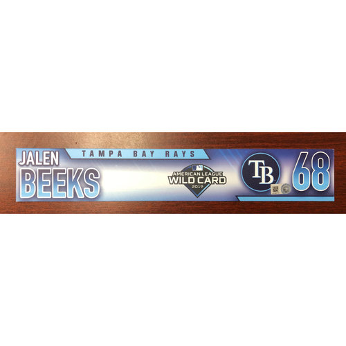 Photo of Game Used A.L. Wild Card Locker Tag: Jalen Beeks - First Career Post Season Game