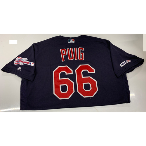 Photo of Yasiel Puig Game-Used Jersey - 9/24/19 @ CWS (3-3, 2 Doubles)