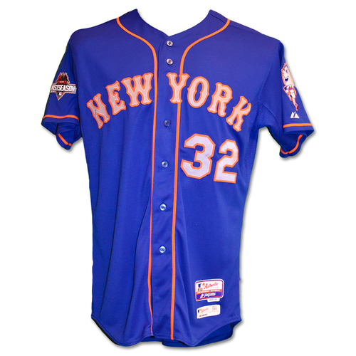 Photo of Steven Matz #32 - Team Issued Blue Alt. Road Jersey - 2015 Postseason