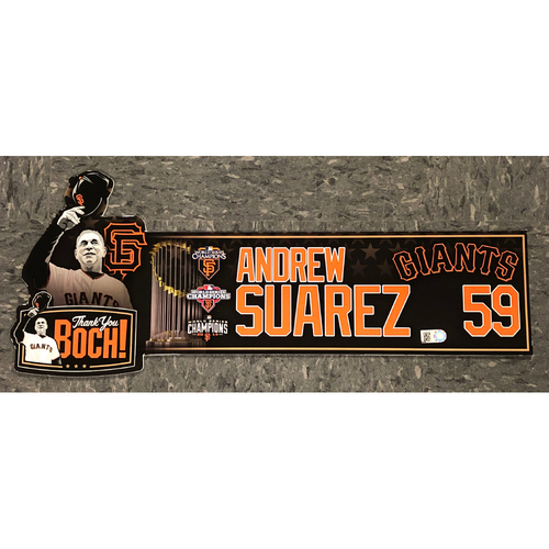 "Photo of 2019 Game Used ""Thank You BOCH!"" Locker Tag - #59 Andrew Suarez"